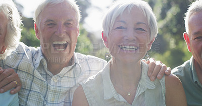 Buy stock photo Closeup portrait of a group of senior friends smiling while standing together in a park