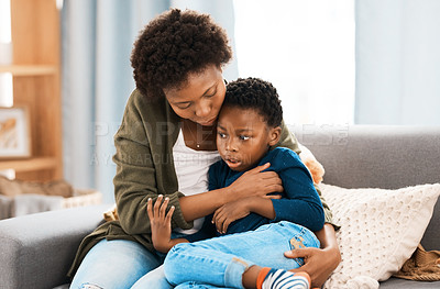 Buy stock photo Cropped shot of a mother spending quality time with her son at home