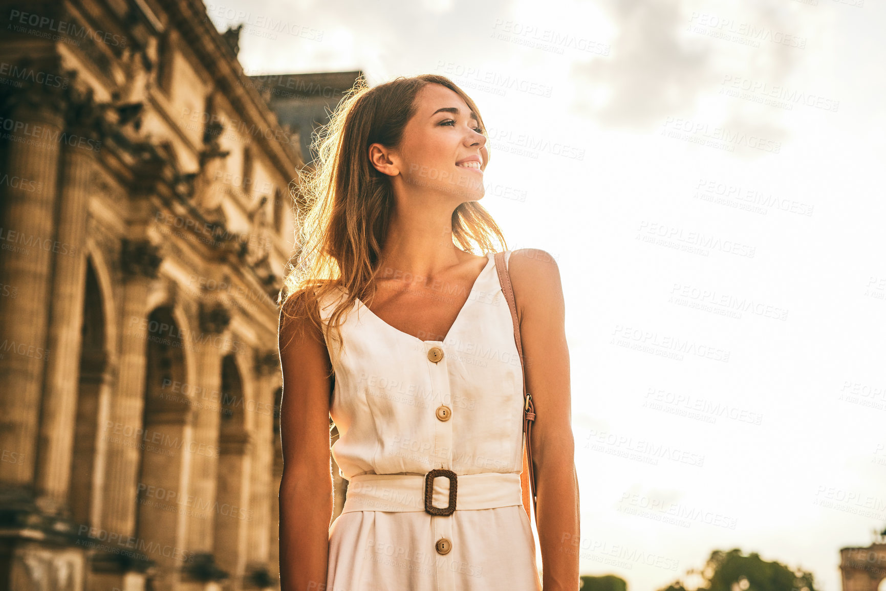 Buy stock photo Shot of a beautiful young woman exploring the city of Paris