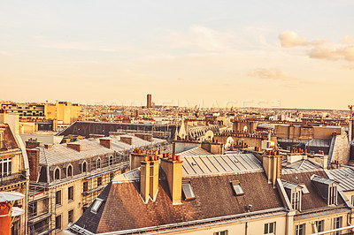 Buy stock photo Cropped shot of historical buildings in the city of Paris, France