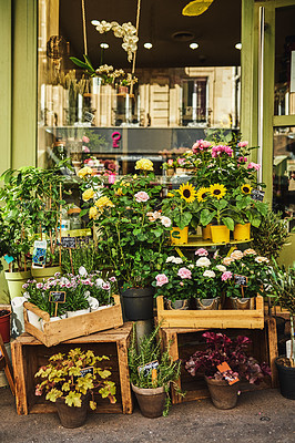 Buy stock photo Shot of a flower shop with a variety of beautiful flowers at a marketplace in Paris, France