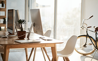 Buy stock photo Still life shot of a modern office area