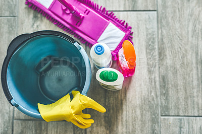 Buy stock photo High angle shot of various cleaning products at home