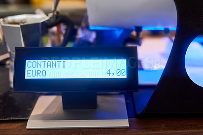 Buy stock photo Closeup shot of a digital display from a cash register in a cafe