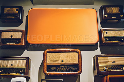 Buy stock photo Shot of various second hand radios in a store