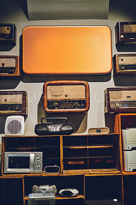 Buy stock photo Shot of various second hand electronic goods in a store
