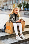 Sharing her shopping spree with social media
