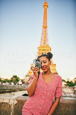 Buy stock photo Portrait of an attractive young woman exploring and taking pictures in Paris, France