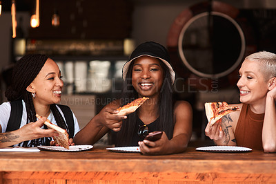 Buy stock photo Cropped shot of friends having pizza at a cafe together