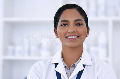 Buy stock photo Cropped portrait of an attractive young female scientist standing in her laboratory