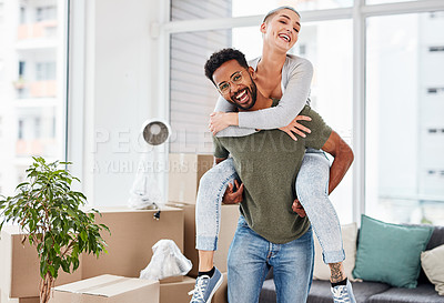 Buy stock photo Cropped shot of a man carrying his girlfriend on his back