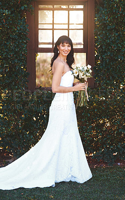 Buy stock photo Shot of a beautiful bride on her wedding day