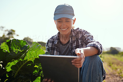 Buy stock photo Cropped shot of an attractive young female farmer using a tablet while working on her farm