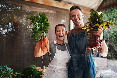 Buy stock photo Portrait of a happy young couple posing together holding bunches of freshly picked carrots and beetroot at their farm