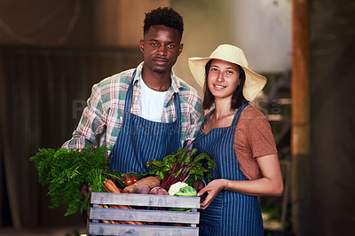 Buy stock photo Portrait of a happy young couple  carrying a crate full of freshly picked vegetables at their farm