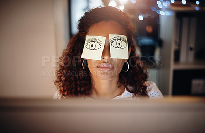 Buy stock photo Shot of a tired young businesswoman working late in an office with sticky notes covering her eyes