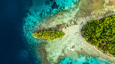 Buy stock photo 4k video footage of the Raja Ampat Islands surrounded by a clear ocean during a vacation in Indonesia