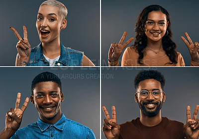 Buy stock photo Composite image of young people making the peace sign while standing against a grey background