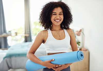 Buy stock photo Portrait of a fit young woman doing yoga at home