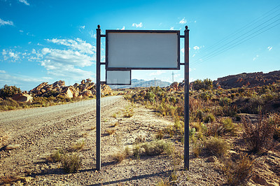 Buy stock photo Still life shot of a blank road sign in a desert