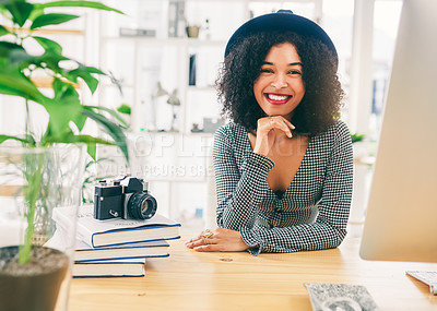 Buy stock photo Cropped shot of an attractive young businesswoman working in her creative office