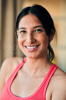 Buy stock photo Portrait of a happy young woman exercising at home
