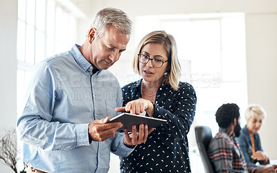 Buy stock photo Cropped shot of two creative businesspeople using a digital tablet together inside their office