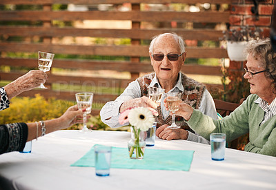 Buy stock photo Cropped shot of a group of seniors sitting together and toasting a glass of wine during a birthday party outdoors