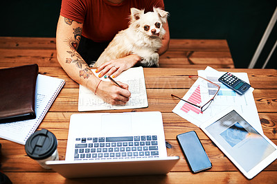 Buy stock photo High angle shot of an unrecognizable businesswoman sitting with her pet dog and writing in her notebook