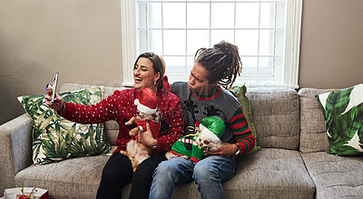 Buy stock photo Cropped shot of a cheerful young couple holding their pet dogs while being seated on a sofa during christmas time at home