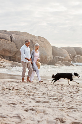 Buy stock photo Full length shot of an affectionate middle aged couple walking hand in hand with along the beach with their dog