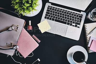 Buy stock photo Still life shot of various items at an office workstation