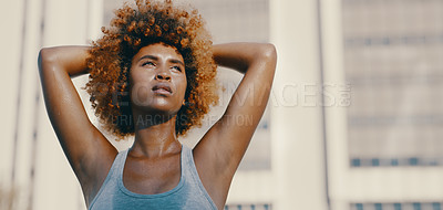 Buy stock photo Shot of an beautiful young female athlete working out in the city