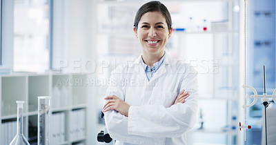 Buy stock photo Portrait of a young scientist standing in a lab
