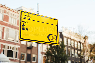 Buy stock photo Still life shot of a bicycle lane sign in Amsterdam, Netherlands