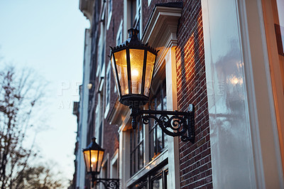 Buy stock photo Still life shot of a street lamp in the city of Amsterdam, Netherlands