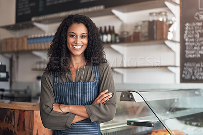 Buy stock photo Portrait of a young woman working in a cafe