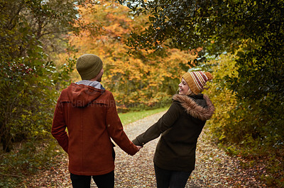 Buy stock photo Rearview shot of an affectionate young couple walking through a park together in late autumn