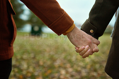 Buy stock photo Cropped shot of an unrecognizable couple holding hands together while walking though a park in late autumn