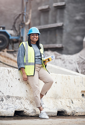 Buy stock photo Full length portrait of an attractive young female construction worker working on site