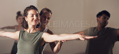 Buy stock photo Shot of a group of young people working out together in a yoga class