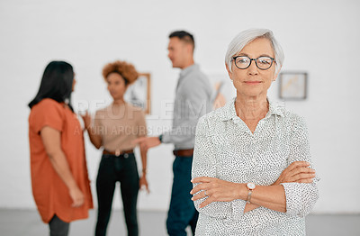 Buy stock photo Portrait of a confident senior businesswoman working in a modern office with her colleagues in the background