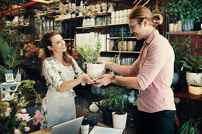 Buy stock photo Cropped shot of an attractive young businesswoman giving her customer a plant he purchased in her store