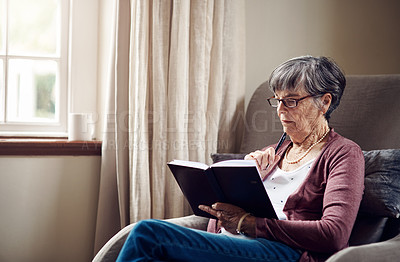 Buy stock photo Shot of a senior woman writing in a notebook at home