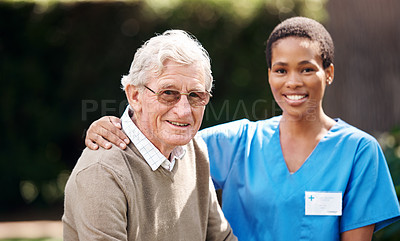 Buy stock photo Cropped portrait of an attractive young nurse standing with her senior patient during a day outdoors