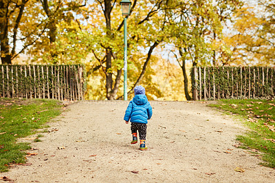 Buy stock photo Rearview shot of an unrecognizable little boy walking though a park alone in autumn