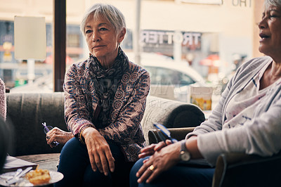 Buy stock photo Shot of two senior women attending a book club meeting at a bookstore
