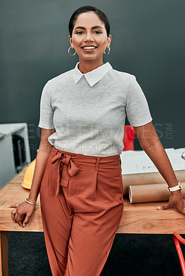 Buy stock photo Portrait of a young architect standing in an office