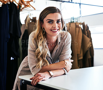 Buy stock photo Portrait of a young fashion designer standing in her workshop