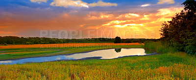 Buy stock photo A photo of sunset in the countryside, Denmark